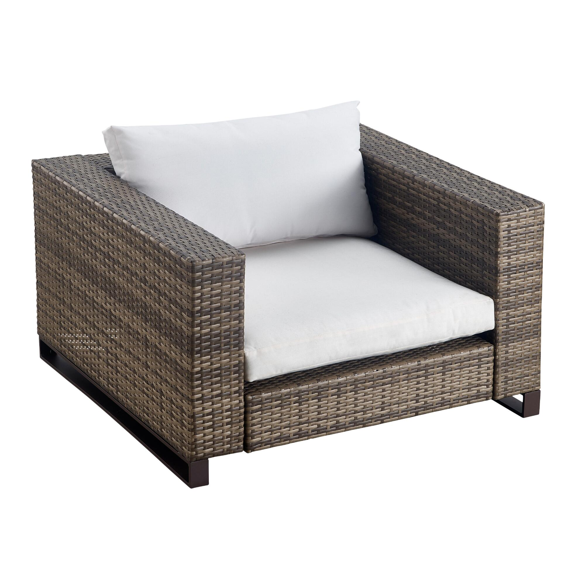 Brown All Weather Wicker Nasim Outdoor Patio Occasional Armchair by World Market
