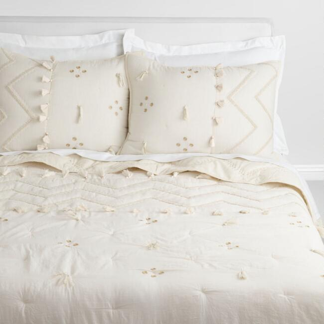 Ivory and Gold Embroidered Leona Quilt
