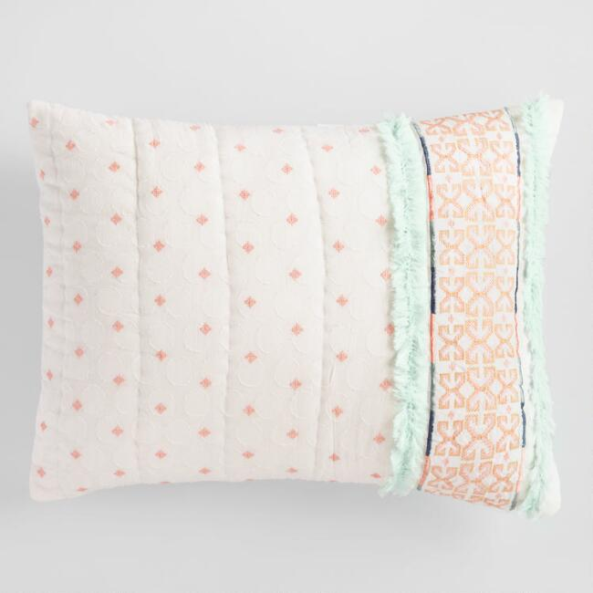 Coral and Aqua Embroidered Jocelyn Pillow Shams Set of 2