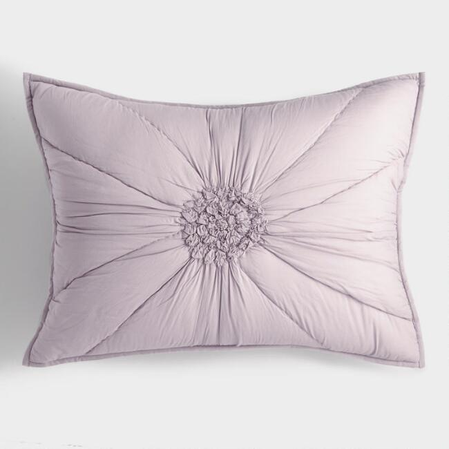 Lavender Floral Ruched Fleur Pillow Shams Set of 2