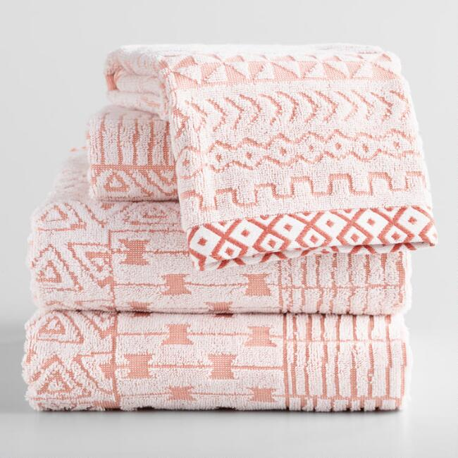 Terracotta and Ivory Geo Sculpted Sahar Towel Collection