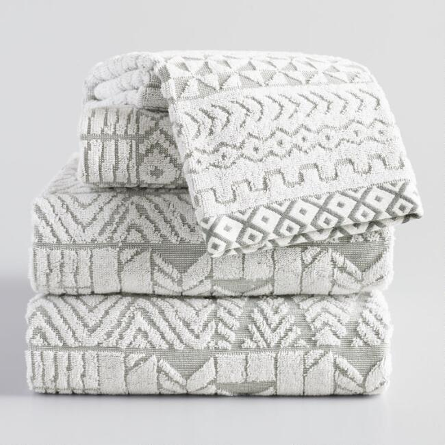 Gray and White Geometric Sculpted Sahar Towel Collection