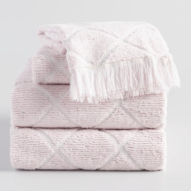 Blush Diamond Sculpted Florentina Towel Collection