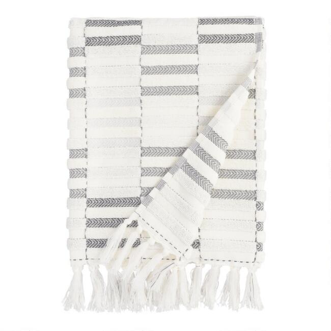 Black and Ivory Striped Sculpted Sloan Bath Towel