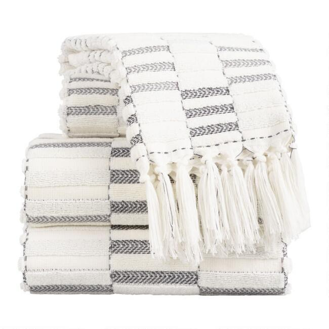 Black and Ivory Striped Sculpted Sloan Towel Collection