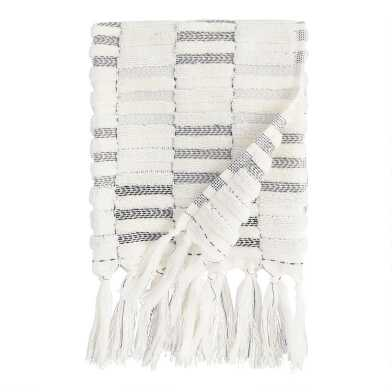 Black and Ivory Striped Sculpted Sloan Hand Towel