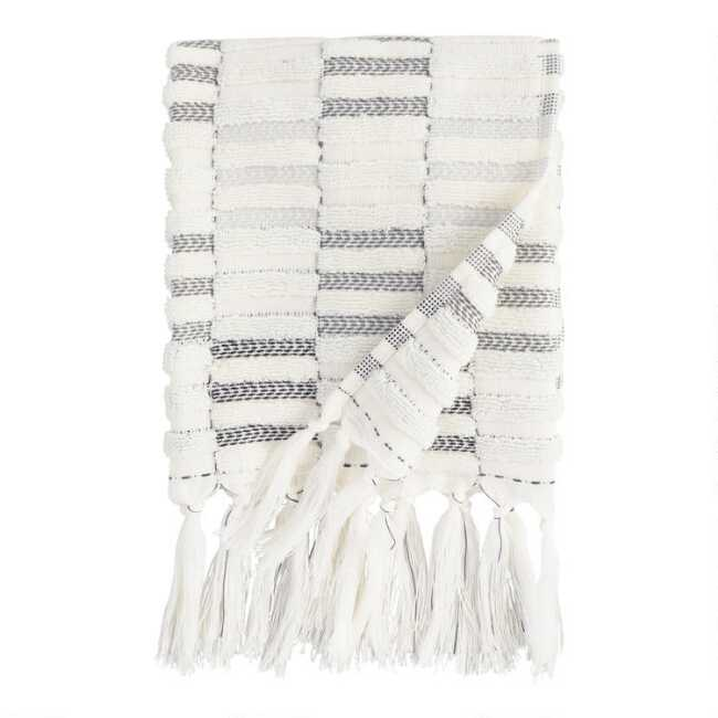 Shop Black and Ivory Striped Sculpted Sloan Hand Towel from World Market on Openhaus
