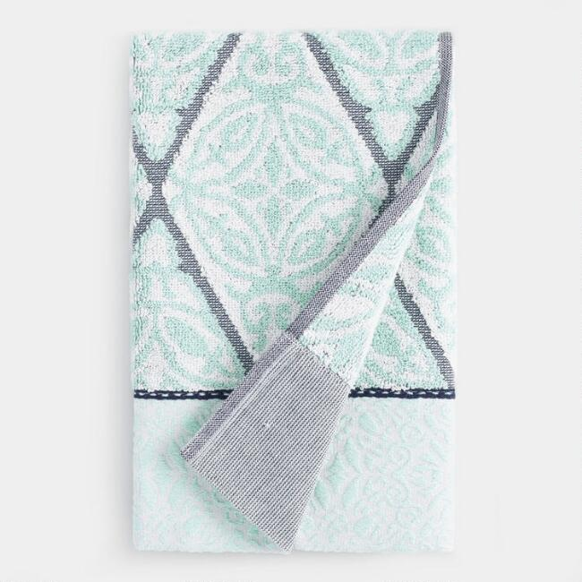 Aqua Medallion Sculpted Diamond Sienna Hand Towel