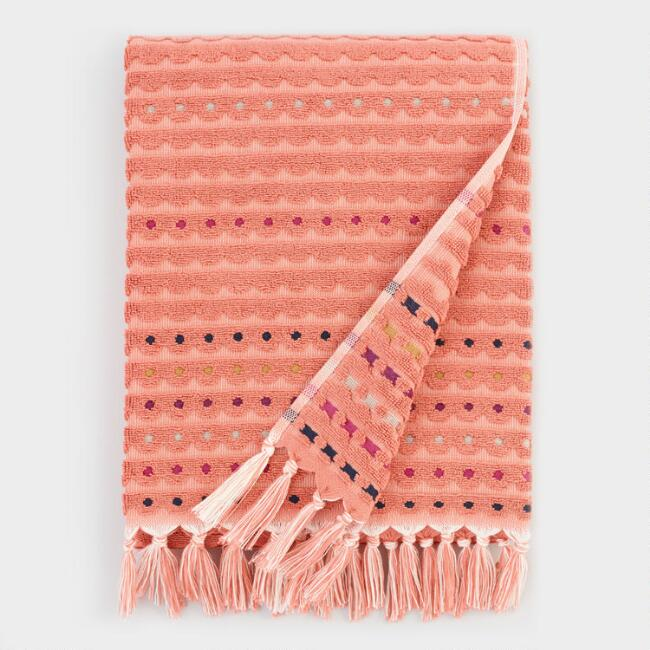 Terracotta Scallop Sculpted Lisette Bath Towel