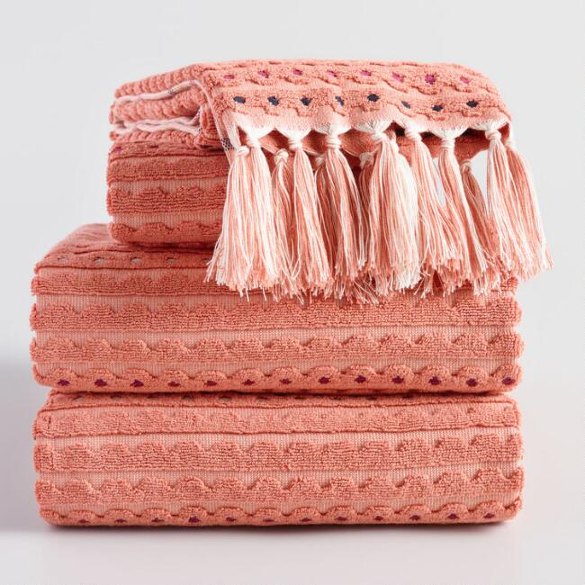 Terracotta Scallop Sculpted Lisette Towel Collection