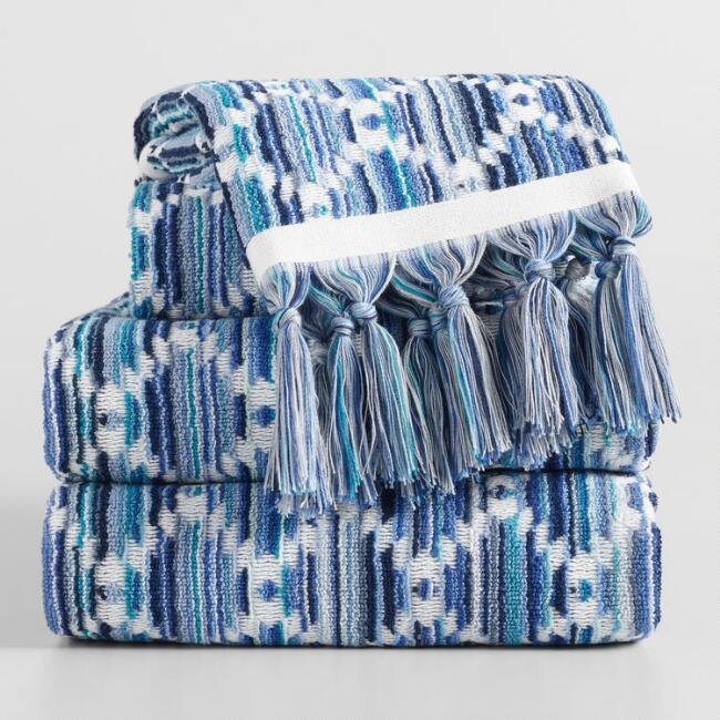 Blue Multicolor Diamond Sculpted Ayana Towel Collection