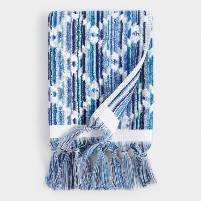 Blue Multicolor Diamond Sculpted Ayana Hand Towel