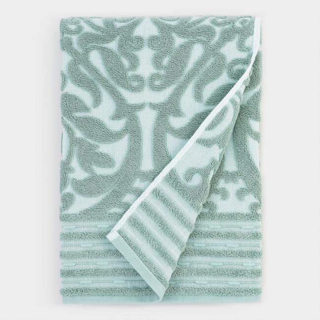 Green and White Gate Sculpted Marina Bath Towel