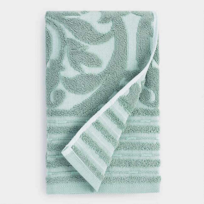 Green and White Gate Sculpted Marina Hand Towel