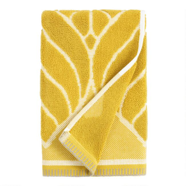 Chartreuse Green Leaf Sculpted Anise Hand Towel