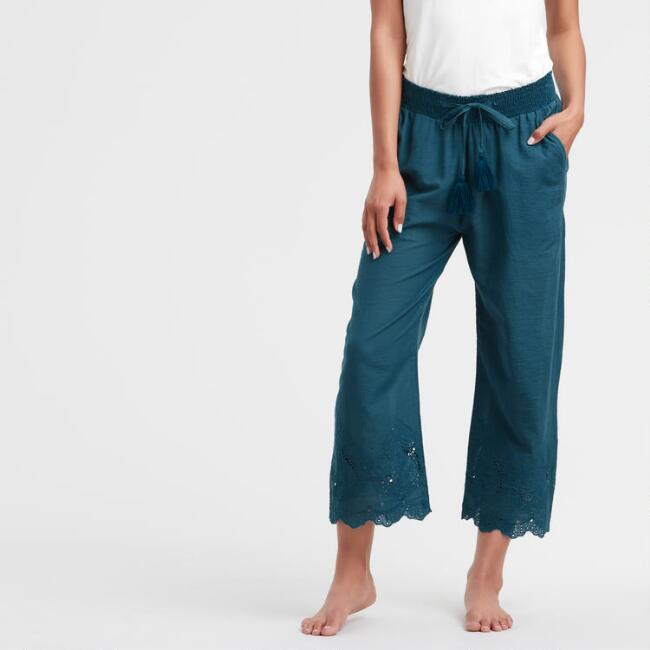 Teal Eyelet Embroidered Cropped Liliana Pajama Pants