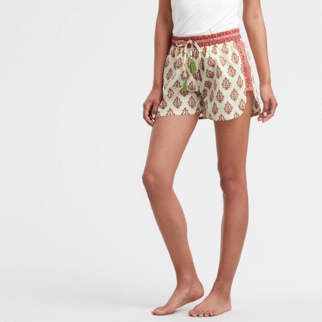 Coral and Ivory Bhuti Jaya Pajama Shorts