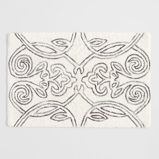 Ivory and Gray Marled Gate Tufted Bath Mat