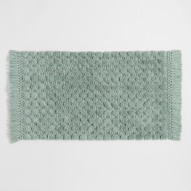 Chinois Green Woven Dot Bath Mat
