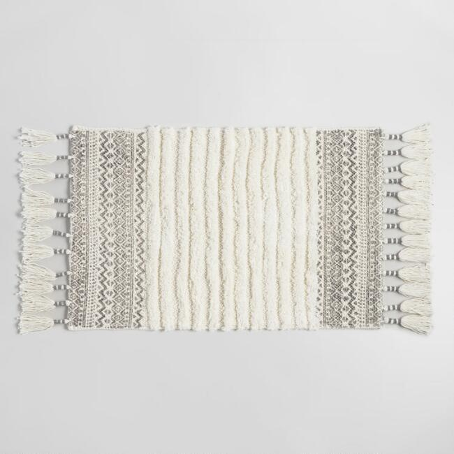 Ivory And Gray Geo Woven And Tufted Bath Mat