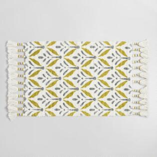 Green And Gray Woven Fl Bhuti Bath Mat