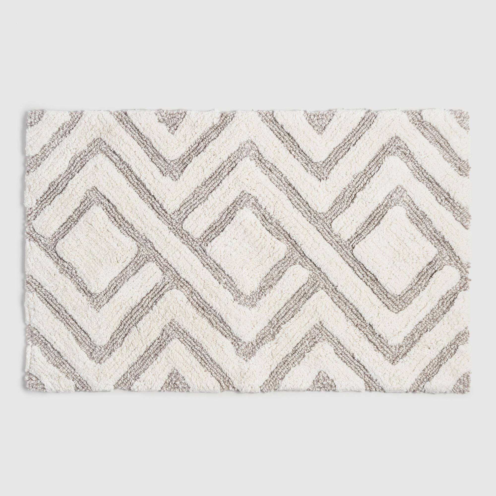 Ivory and Taupe Tufted Diamond Bath Mat by World Market