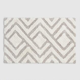 Ivory And Taupe Tufted Diamond Bath Mat