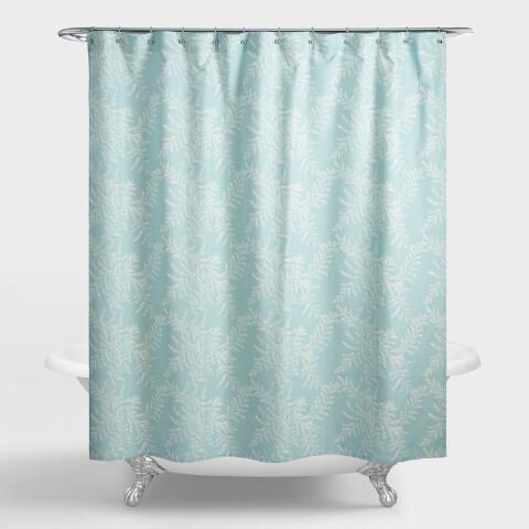 Aqua And Ivory Fern Yellowstone Shower Curtain