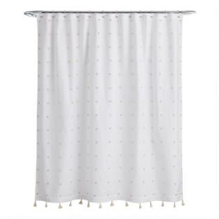 White And Ivory Embroidered Pom Ellie Shower Curtain