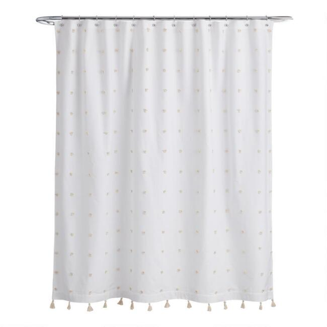 White and Ivory Embroidered Pom Pom Ellie Shower Curtain