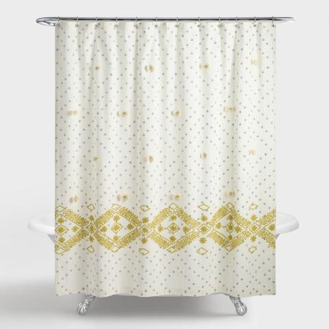 Cress Green And Gray Embroidered Siya Shower Curtain Previous V3 V1