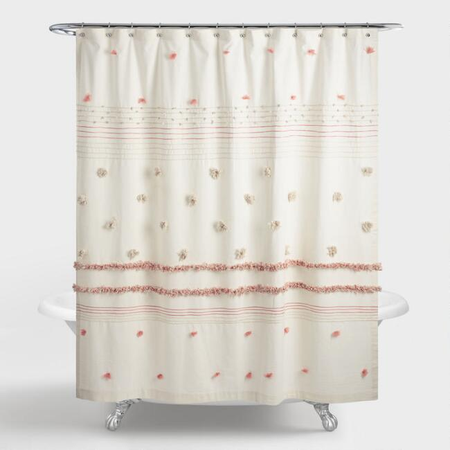 Ivory and Terracotta Striped Pom Pom Rimini Shower Curtain