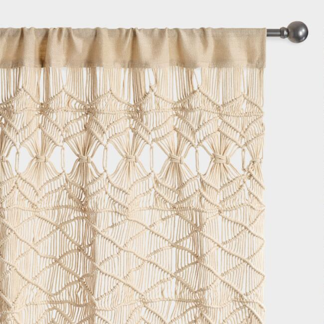 Ivory Macrame Sleeve Top Curtains Set of 2