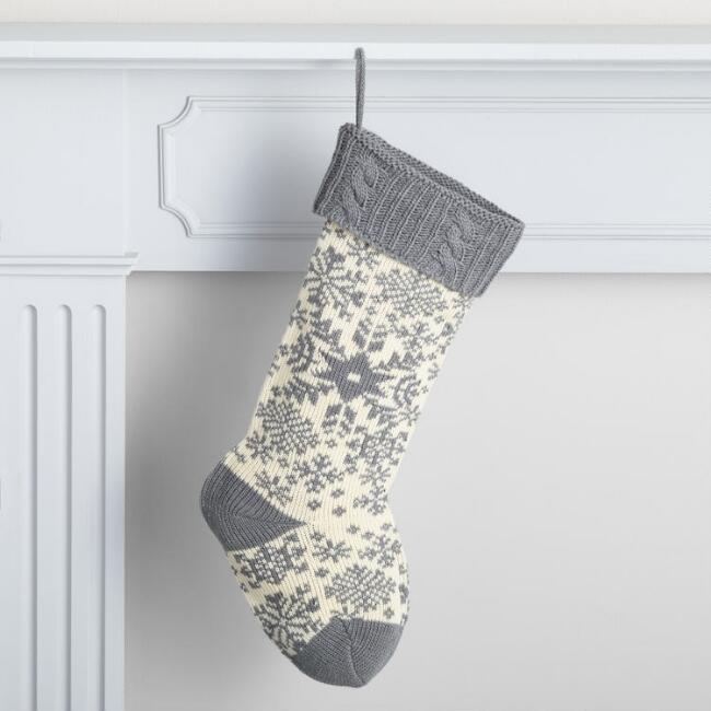 Gray Snow Fair Isle Knit Holiday Stocking