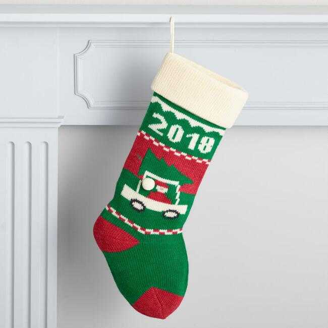 Santa's Car 2018 Knit Holiday Stocking