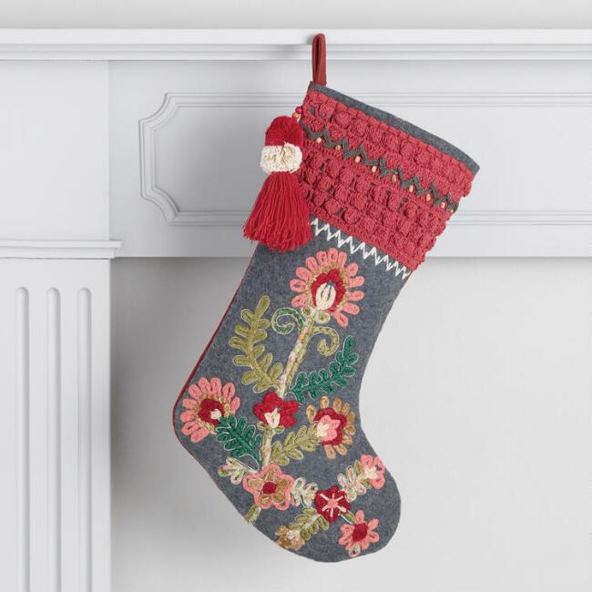 Floral Embroidered Stocking with Tassel