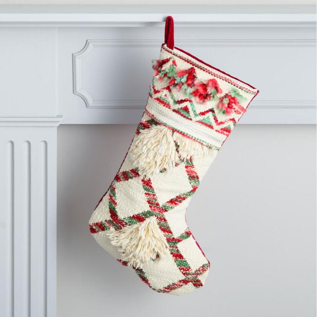 Boho Red and Green Shag Holiday Stocking