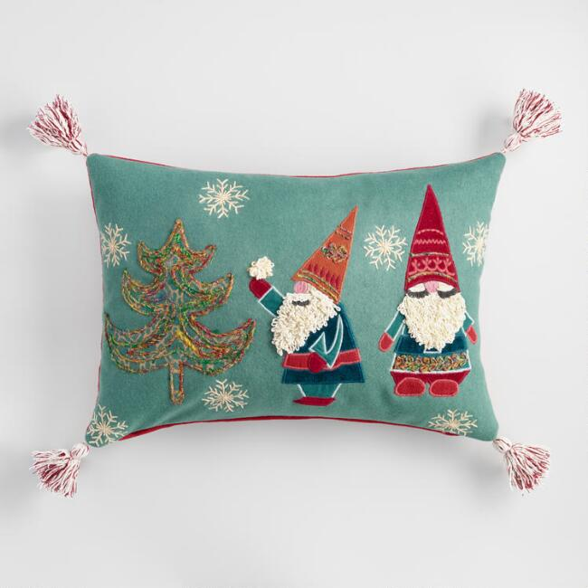 Embroidered Gnomes Lumbar Pillow