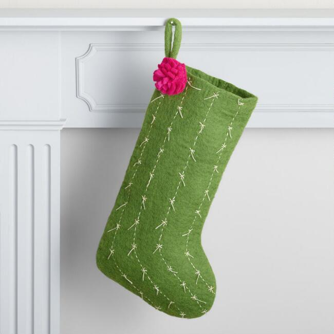 Cactus Felted Wool Holiday Stocking