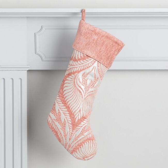 Coral Metallic Chenille Holiday Stocking