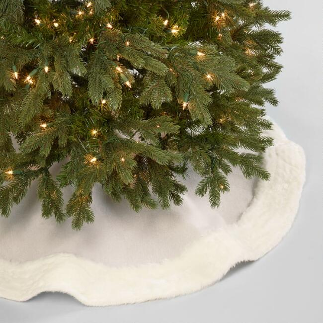 White Faux Fur and Linen Tree Skirt