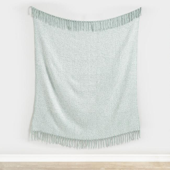 Jade Green Herringbone Chenille Throw Blanket