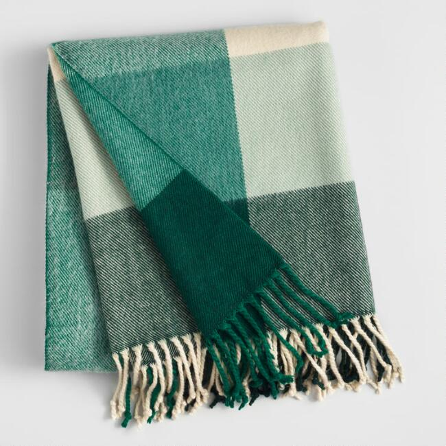 Green and Ivory Plaid Throw Blanket