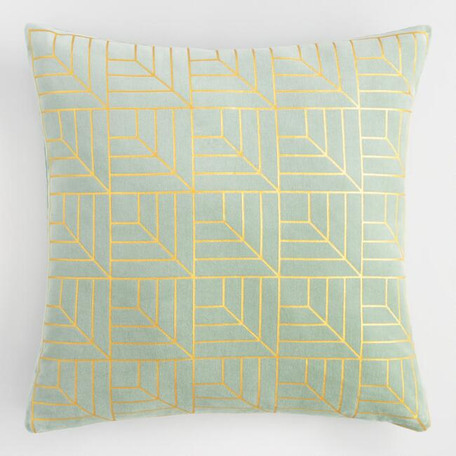 Jade Green and Gold Metallic Geo Print Velvet Throw Pillow
