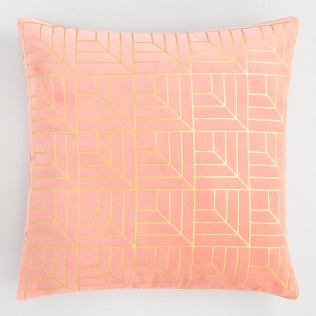 Coral And Gold Metallic Geo Print Velvet Throw Pillow