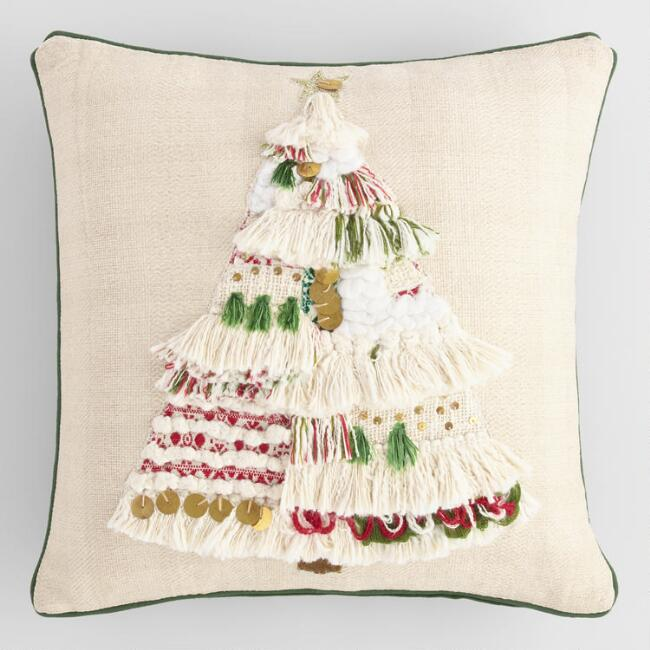 Shag Christmas Tree Throw Pillow