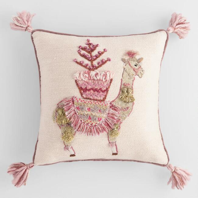 Blushing Llama Embroidered Throw Pillow with Tassels