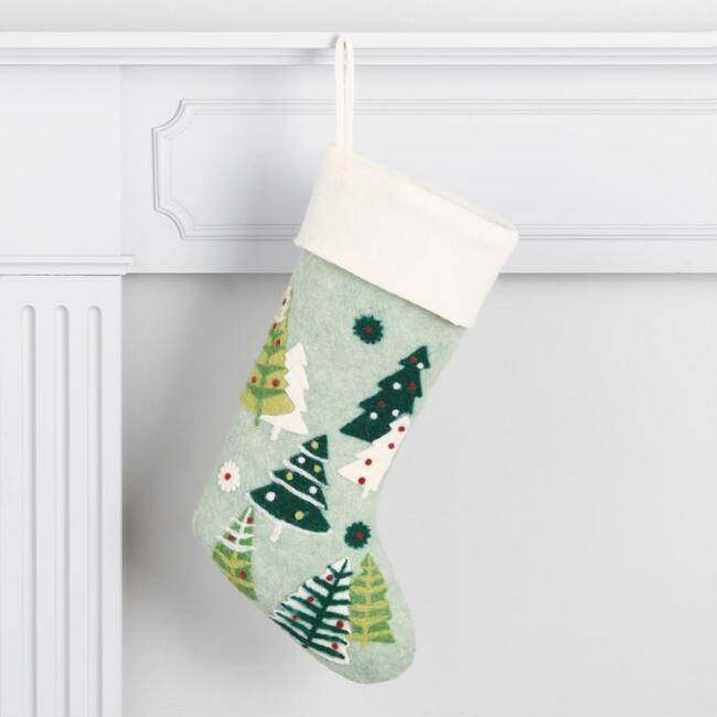 Felted Wool Trees Holiday Stocking