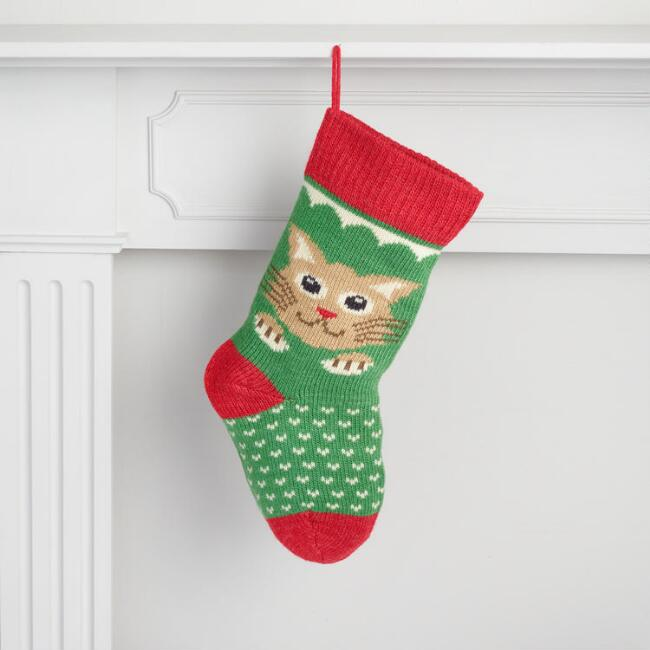 Green and Red Knit Cat Stocking