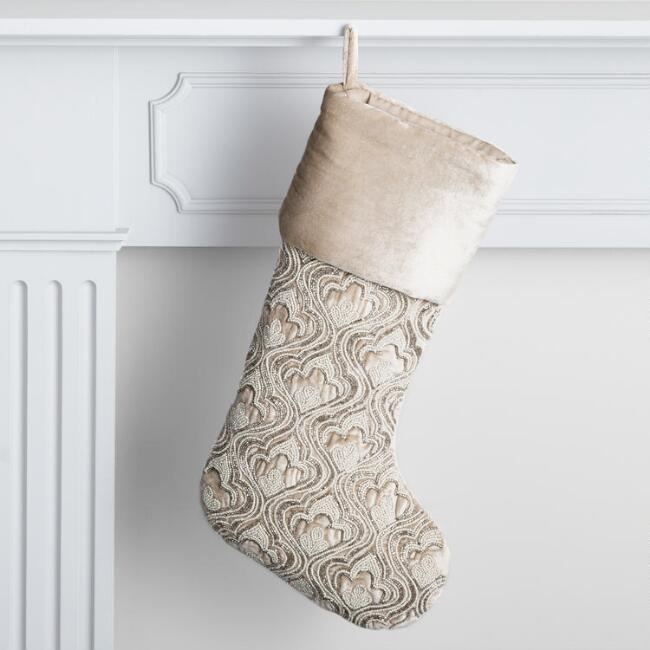 Champagne and Ivory Velvet Beaded Art Deco Holiday Stocking